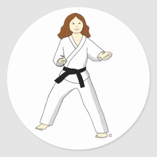 Karate Princess (brunette) Stickers