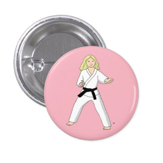 Karate Princess pinback button