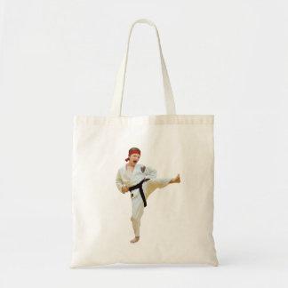 Karate que golpea con el pie, correa negra, bolso bolsa tela barata