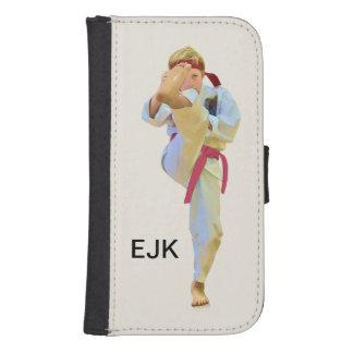 Karate que golpea el monograma rojo del personaliz fundas cartera para teléfono