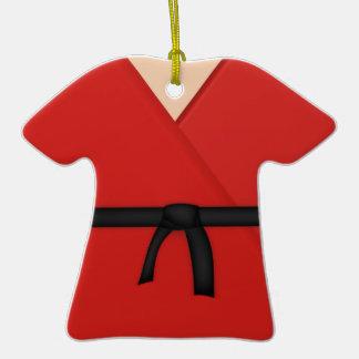 Karate Red Uniform Black Belt Double-Sided T-Shirt Ceramic Christmas Ornament