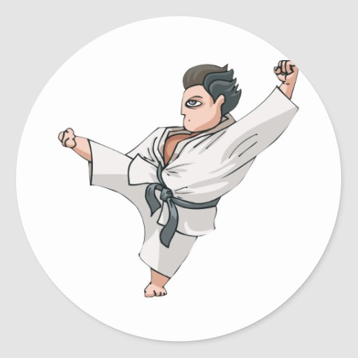 Karate-Retroceso Pegatina Redonda