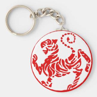 Karate rojo del japonés del tigre del sol naciente llavero redondo tipo pin