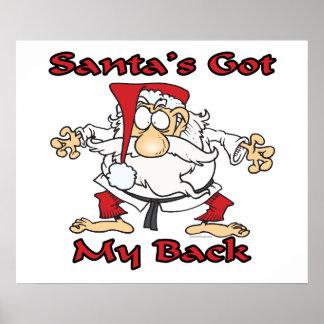 karate santas got my back funny cartoon poster