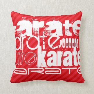 Karate; Scarlet Red Stripes Throw Pillows