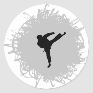Karate Scribble Style Classic Round Sticker