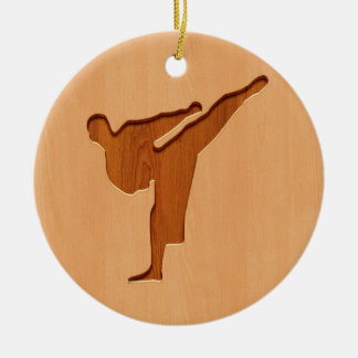 Karate silhouette engraved on wood effect ceramic ornament