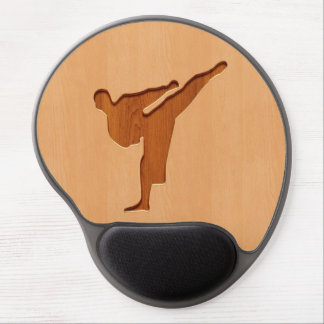 Karate silhouette engraved on wood effect gel mouse pad