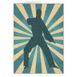 Karate Silhouette w/ Sunburst Birthday Card