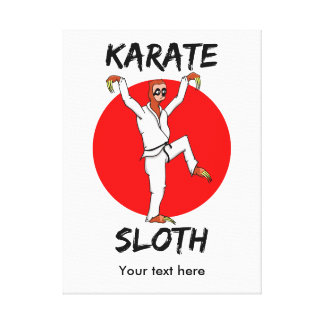 karate sloth ALL SHOPS TEXT.png Canvas Print