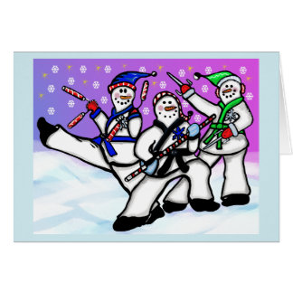 Karate Snowmen with Weapons Card
