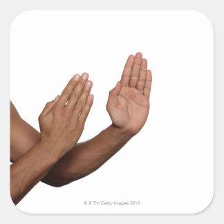 Karate Stance 2 Square Sticker