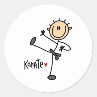 Karate Stick Figure Classic Round Sticker