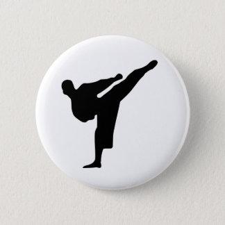 Karate / Taekwondo Kick Silhouette Round Button