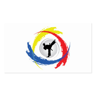 Karate Tricolor Emblem Business Card Templates