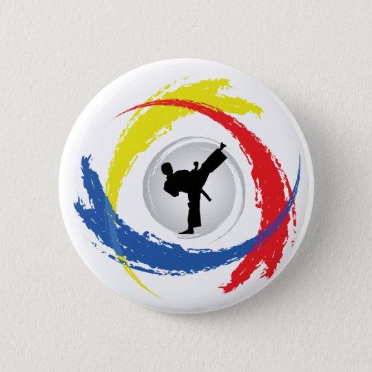 Karate Tricolor Emblem Button