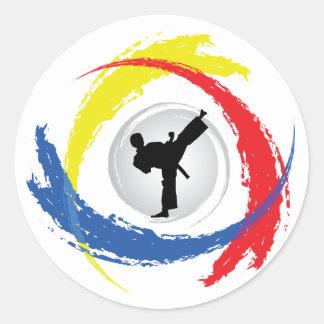 Karate Tricolor Emblem Classic Round Sticker