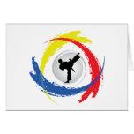 Karate Tricolor Emblem Greeting Card