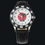 "Karate watch for kids with personalized name<br><div class=""desc"">Black karate watch for kids with personalized name print. Personalizable wrist watches for martial arts student. Cute Birthday gift idea for boys and girls. Sporty design with karate kick. Also great for other fight sports like ju jitsu, taekwondo, judo, aikido, kickboxing, jiu jitsu, muay thai etc. Chirldren's presents. Perfect for...</div>"