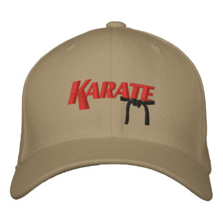 karate with black belt embroidered baseball hat