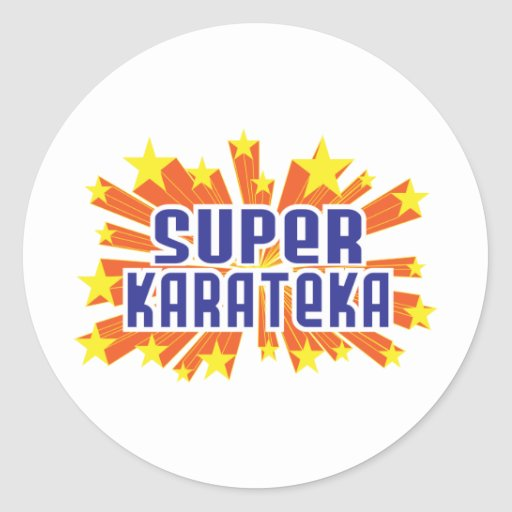 Karateka estupendo pegatina redonda