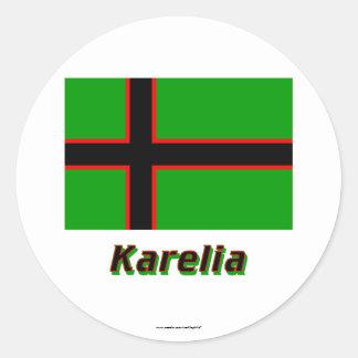 Karelia Flag with Name Round Sticker