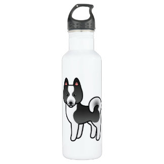 Karelian Bear Dog Cartoon 24oz Water Bottle