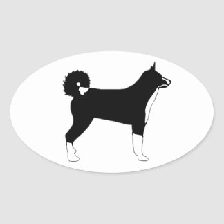 karelian bear dog color silhouette oval sticker