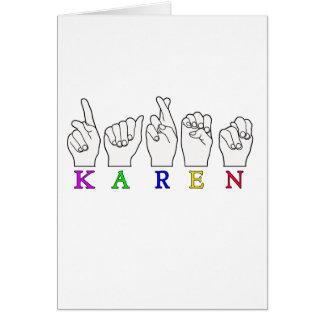 KAREN ASL FINGERSPELLED NAME FEMALE SIGN GREETING CARD