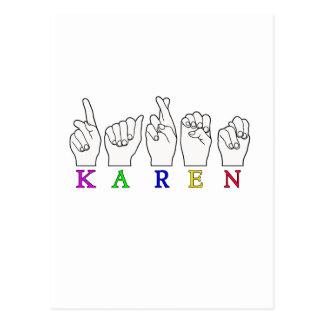 KAREN ASL FINGERSPELLED NAME FEMALE SIGN POSTCARD