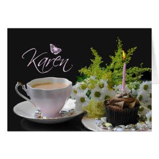 Karen Birthday Card with Cake Tea and Flowers