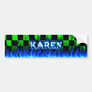 Karen blue fire and flames bumper sticker design.