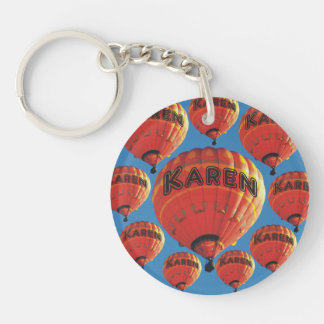 Karen Hot Air Balloons Double-Sided Round Acrylic Keychain