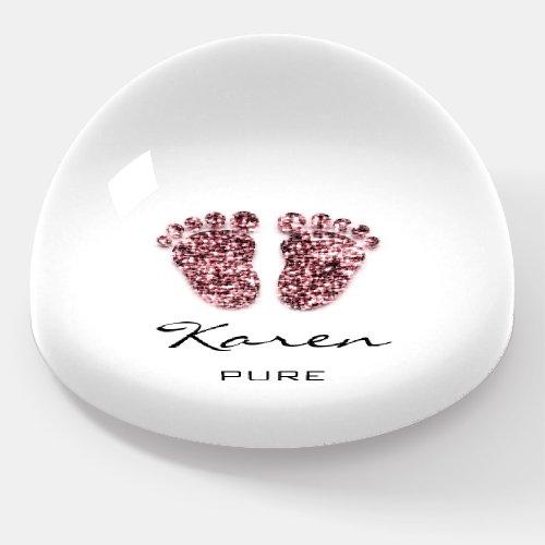 Karen NAME MEANING Baby Shower Feet Burgundy  Paperweight