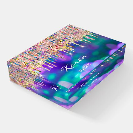 Karen NAME MEANING Holograph Place Sign Navy Paperweight