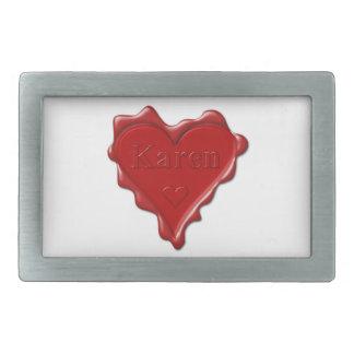Karen. Red heart wax seal with name Karen Rectangular Belt Buckle