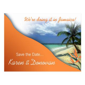 Karen s Custom Jamaica Save The Date papaya Post Cards