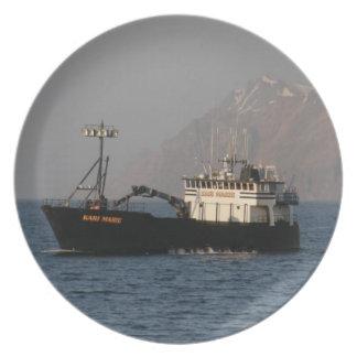 Kari Marie, Crab Fishing Boat in Dutch Harbor Dinner Plate