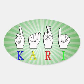 KARI NAME SIGN ASL FINGERSPELLED OVAL STICKER