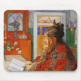Karin Reading in the Evening Mouse Pad
