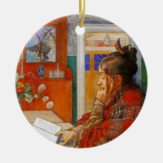Karin Reading Double-Sided Ceramic Round Christmas Ornament