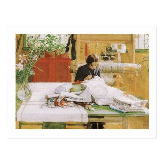 Karin Sewing Postcard