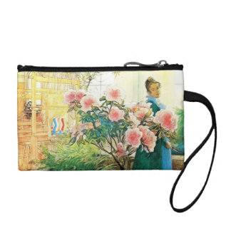 Karin with Pink Flowers and Her Loom Change Purses