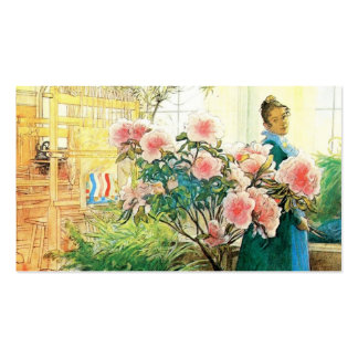 Karin with Pink Flowers and Her Loom Double-Sided Standard Business Cards (Pack Of 100)