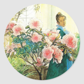 Karin with Pink Flowers and Her Loom Classic Round Sticker