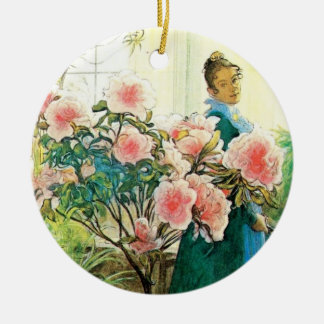Karin with Pink Flowers and Her Loom Double-Sided Ceramic Round Christmas Ornament