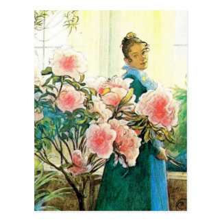 Karin with Pink Flowers and Her Loom Postcard