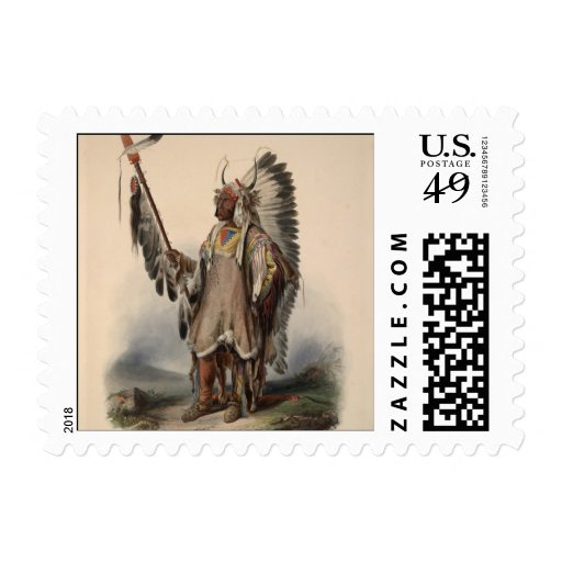 Karl Bodmer - A Mandan chief Postage
