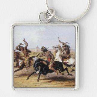 Karl Bodmer - carrera de caballos de los Siux Llavero Cuadrado Plateado