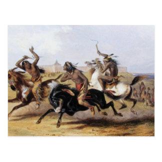 Karl Bodmer - carrera de caballos de los Siux Postales